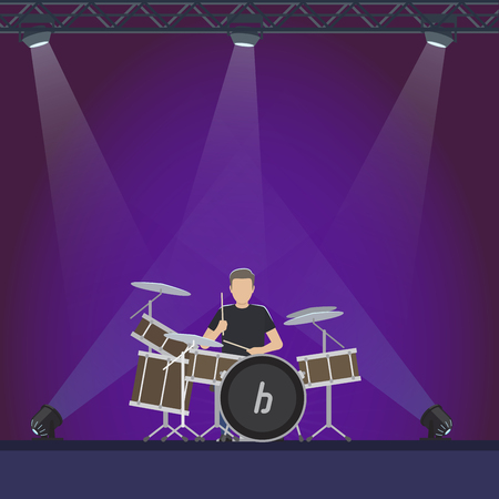 Drummer at Stage with Purple Lights Illustration
