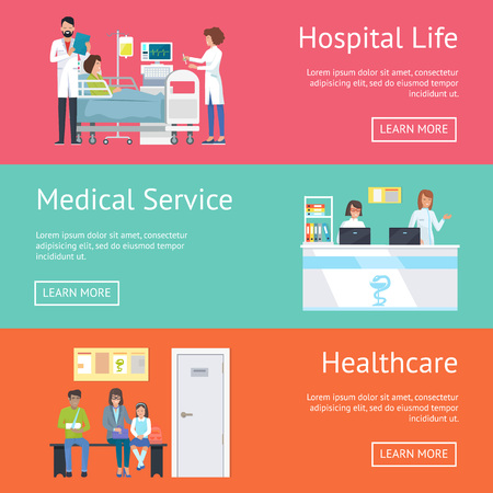 Hospital Life, Medical Service and Healthcare Vectores