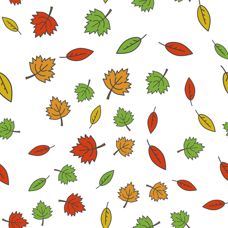 Autumn Colorful Tree Leaves Seamless Pattern.