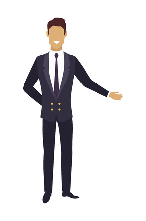 Man in Expensive Suit Pointing on Something Vector