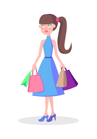 Beautiful Woman Shopping Cartoon Flat Vector Icon