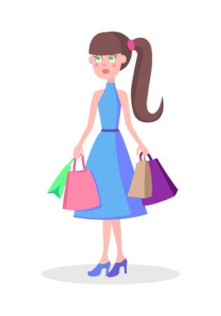 Beautiful Woman Shopping Cartoon Flat Vector Icon