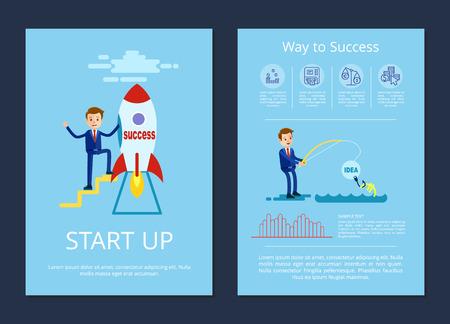 Opstarten en weg naar succes vectorillustratie
