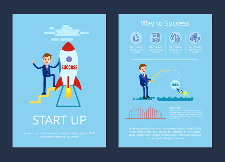 Start Up and Way to Success Vector Illustration Illusztráció