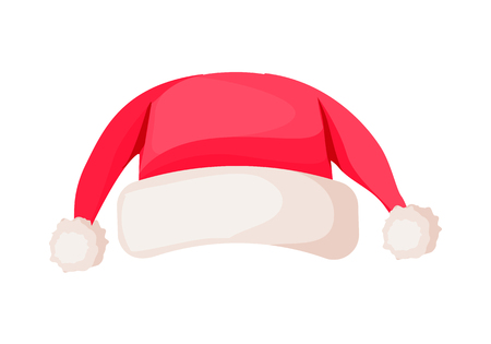 Santa Claus Winter Woolen Hat Isolated on White. Ilustrace