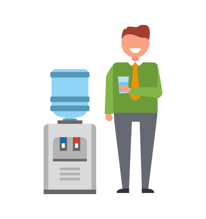 Man with Water Cooler Icon Vector Illustration