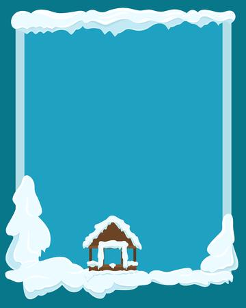 Gazebo Covered with Snow Winter Scene Illustration