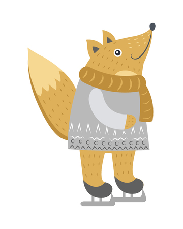 Fow isolated in warm silver sweater and golden scarf on white. Vector illustration of standing cunning wild animal with fluffy tail on skates in cartoon style. Christmas entertainments outdoors