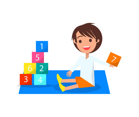 Boy Playing with Color Cubes Isolated Illustration. Çizim