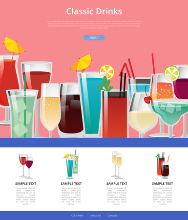 Classic Drinks Web Poster with Samples of Alcohol.