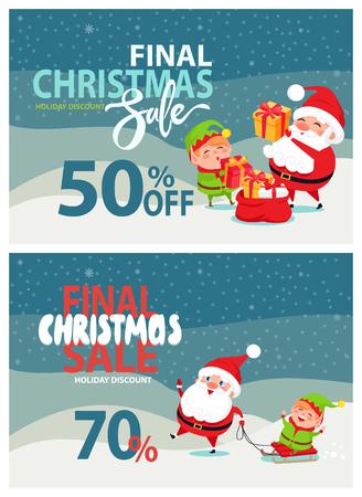 最後のクリスマスセール広告, サンタクロース, エルフ  イラスト・ベクター素材