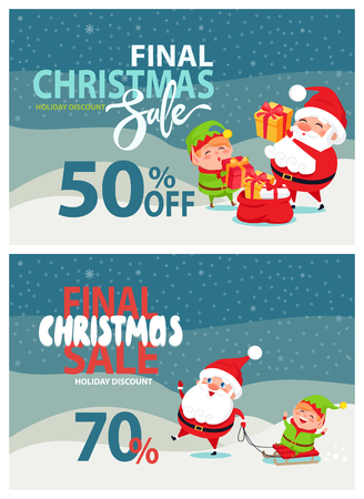 Final Christmas Sale Advertising, Santa Claus, Elf