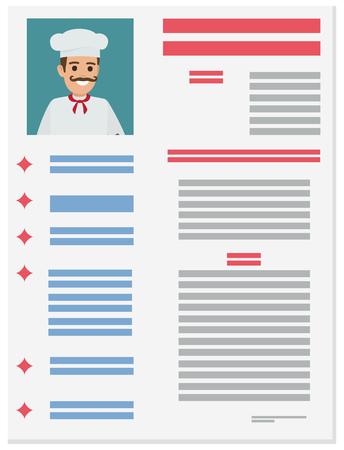 Resume of chef Illustration. Illustration