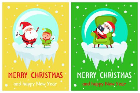 Merry Christmas Elf and Santa Vector Illustration Illustration