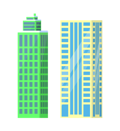 Set of City Buildings Icons Vector Illustration Illustration
