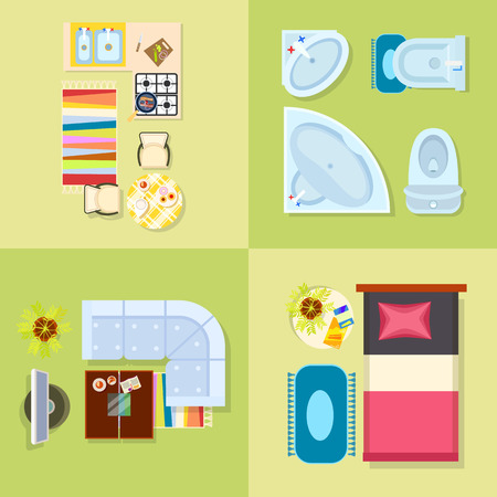Kitchen and Bathroom Design Vector Illustration