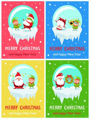 Postcard Merry Christmas Happy New Year Santa Elf Vector illustration. Illustration