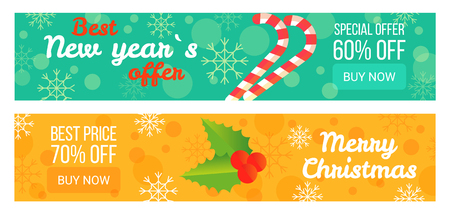 Two Sales Posters Best New Year s Offer 60 Off Vector illustration.
