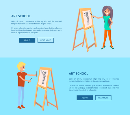 Man and Woman Drawing Pictures on Easel by Pencils Vector illustration.