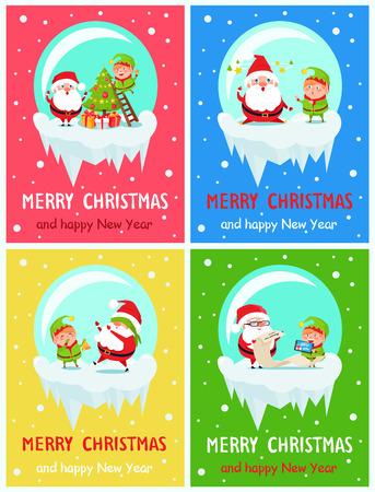 Happy New Year Merry Xmas Postcard Santa and Elf Vector illustration.