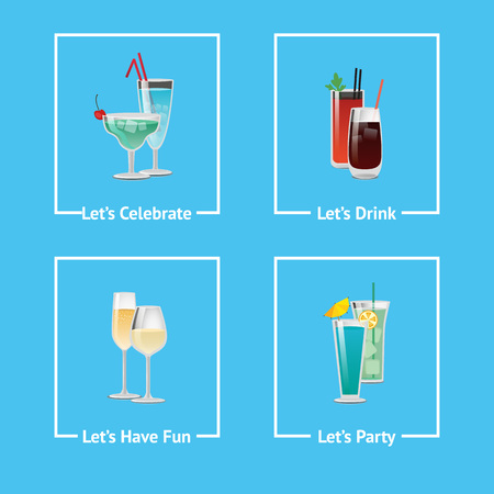 Lets Celebrate, Have Party Fun and Drink Icons Vector illustration.