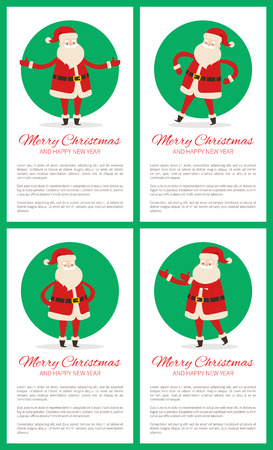Happy New Year and Merry Xmas Poster with Santa