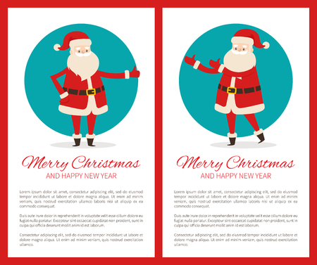 Merry Christmas Happy New Year Poster with Santa Archivio Fotografico - 91837691