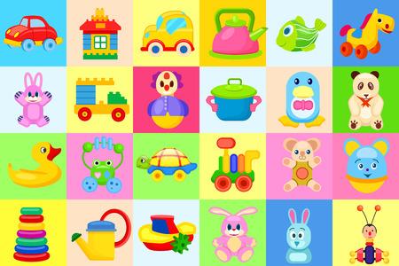 Conjunto de ilustrações coloridas grandes brinquedos para crianças Foto de archivo - 91837693