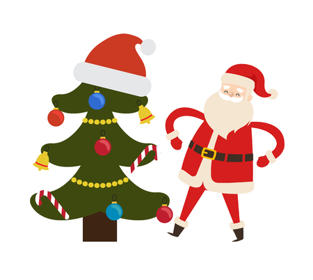 Decorated Spruce Tree and Saint Nicholas Character Illustration