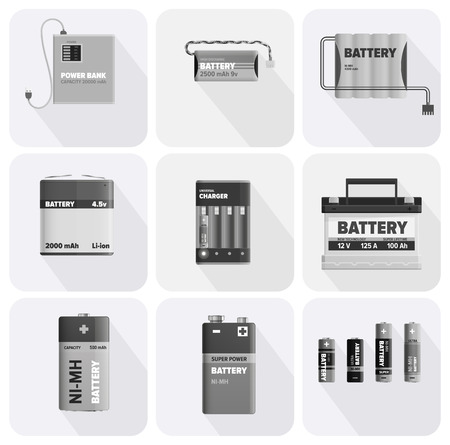 Black and White Charging Devices Illustrations Set