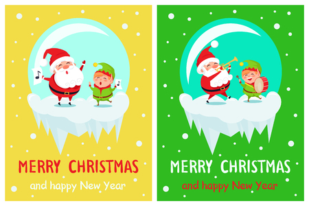 Merry Christmas Musical Play Vector Illustration