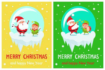 Merry Christmas Musical Play Vector Illustration