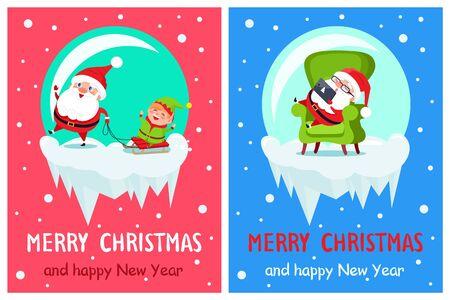 Joyeux noël santa set vector illustration Banque d'images - 92027014