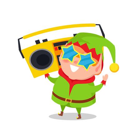 Cute Elf in Star Shape Glasses Cassette Recorder Ilustrace