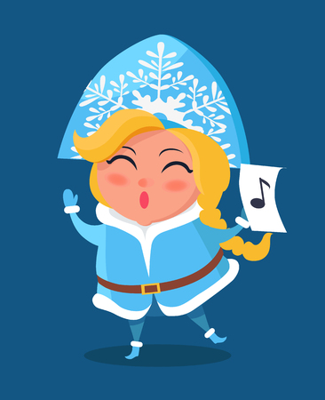 Snow Maiden in Warm Winter Cloth with Music Sign