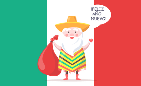 Mexican Santa Claus in Sombrero with Gift Bag