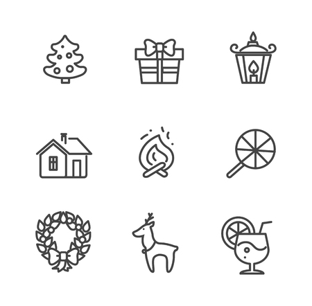 Set of Icons Isolated on White Vector Illustration
