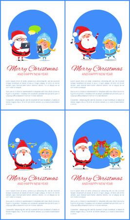 メリークリスマスバナーサンタクロースと雪の乙女