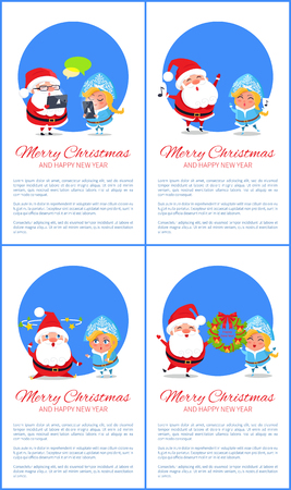Merry Christmas Banner Santa Claus and Snow Maiden