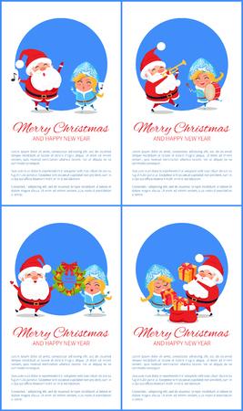 バナーのメリークリスマスセット、陽気なサンタクロース