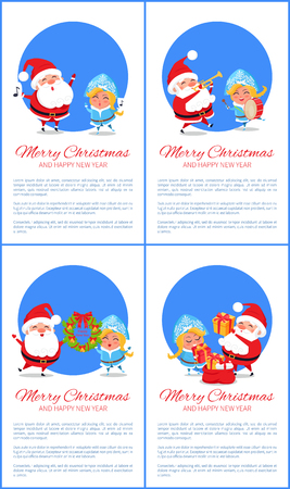Merry Christmas Set of Banners, Cheerful Santa Claus