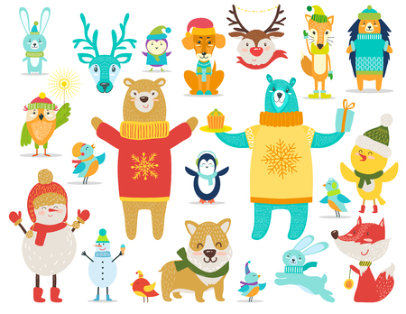 Collection of Animals, Snowmen Vector Illustration Illustration