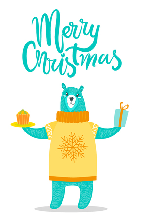 Merry Christmas Greeting Card Big Bear in Sweater