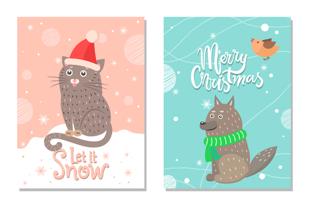 Merry Christmas let it Snow 70s Theme Postcard
