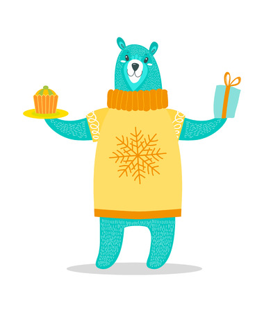 Big Bear in Sweater with Snowflake Holds Present.