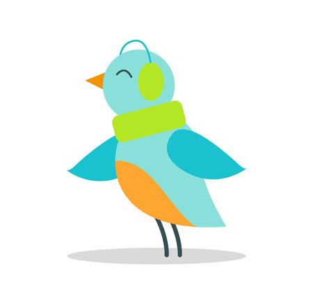 Bird Blue Plumage in Warm Earpieces Listen Music.