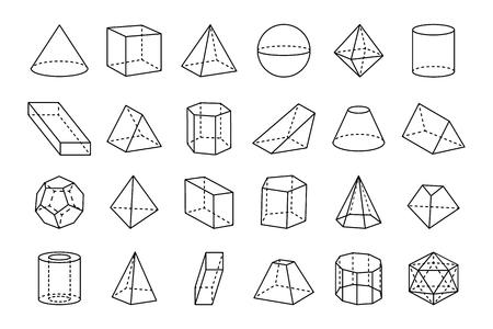 Zbiór ilustracji kształtów geometrycznych.