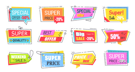 Super Low Price Bright Promotional Logotypes Set Stok Fotoğraf