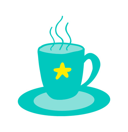 Hot Cup of Tasty Tea with Star Stands on Saucer