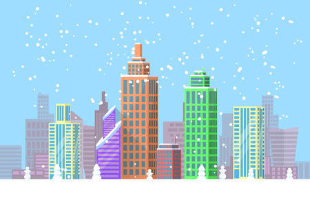 Snowy Cityscape Bright Poster Vector Illustration